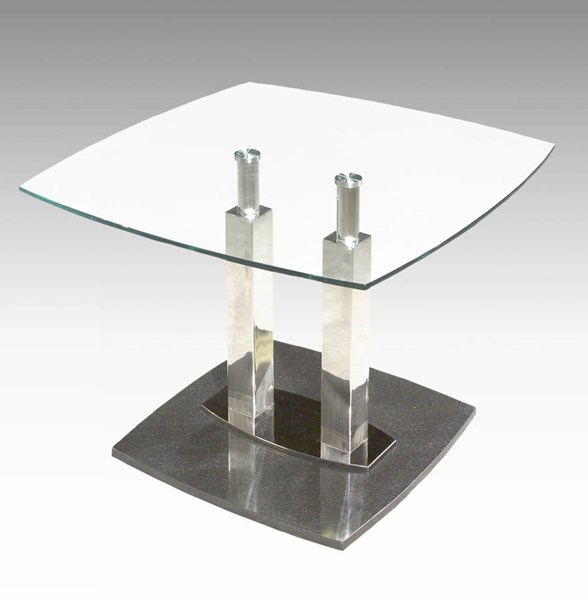 Cilla Contemporary Black Stainless Steel Glass Lamp Table CHF-CILLA-LT-TMB