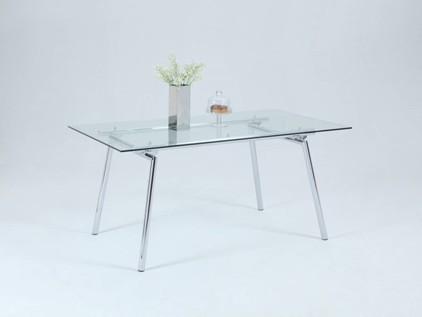 Colleen Chrome Metal Clear Glass Dining Table CHF-COLLEEN-DT-3660-CHR-DT