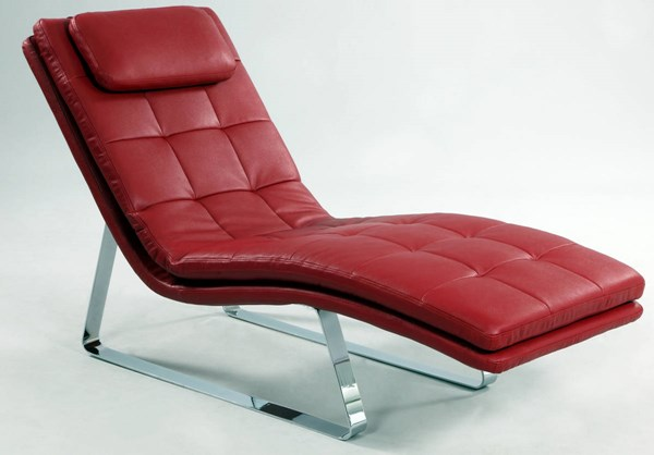 Corvette Red Chrome Full Bonded Leather Chaise Lounge CHF-CORVETTE-LNG-RED-L