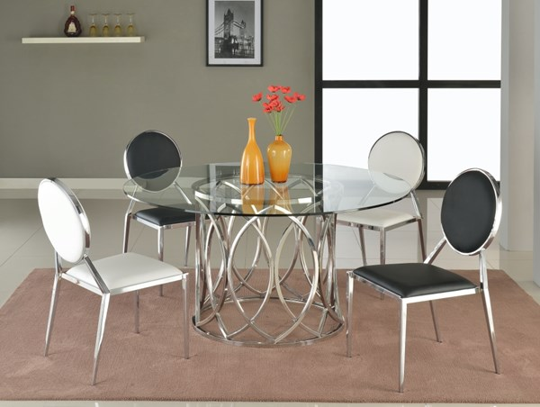 Courtney Lisa Glass Bevel PU 5pc Dining Room Sets CHF-COURTNEY-DRS-VAR