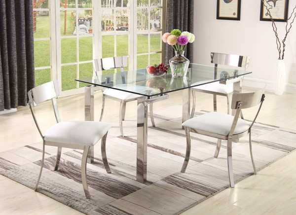 Chintaly Imports Cristina Clear Polished White 5pc Dining Room Set CHF-CRISTINA-MAIDEN-DR-S1