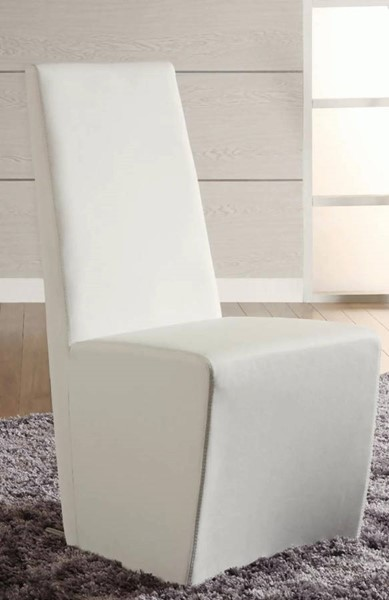 2 Cynthia Contemporary White PU Fully Upholstered Side Chairs CHF-CYNTHIA-SC-WHT
