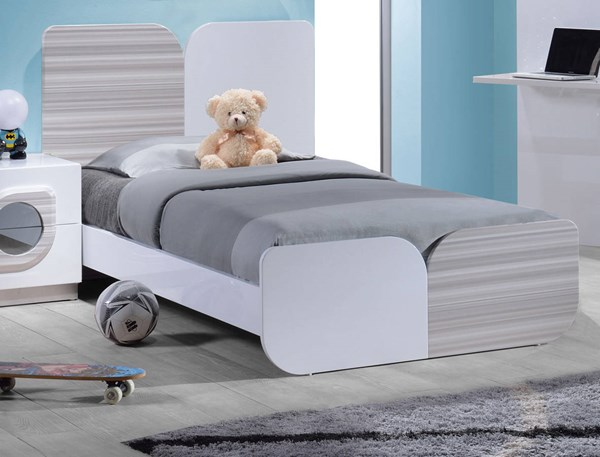 Cairo High Gloss White Wood Twin Size Bed CHF-CAIRO-BED-TW