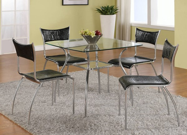Daisy Black Chrome Glass Metal PVC Dining Room Set CHF-DAISY-DT