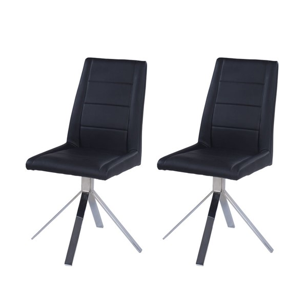2 Chintaly Imports Dana Chrome Black Dining Chairs CHF-DANA-SC-BLK