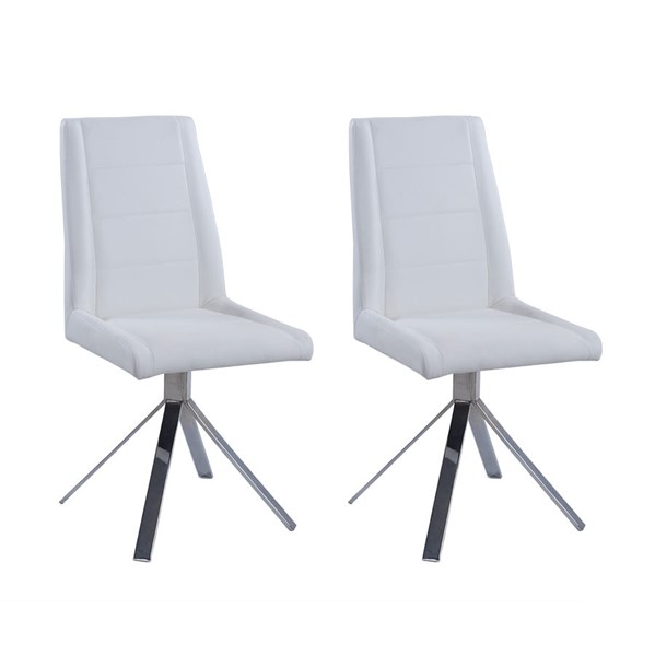 2 Chintaly Imports Dana Chrome White Dining Chairs CHF-DANA-SC-WHT