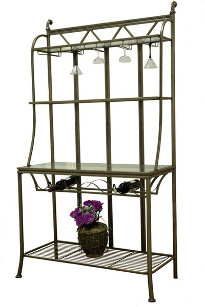 Darcy Traditional Matt Bronze Hand Painted Bakers Rack w/Glass Shelves CHF-DARCY-BR