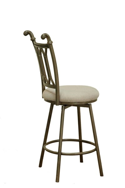 Darcy Traditional Fabic Metal Matt Bronze Hand Painted Counter Stool CHF-DARCY-BS-BGE