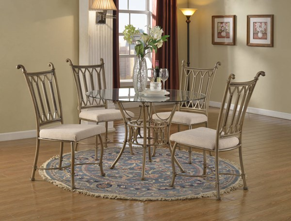 Darcy Bronze Beige 5pc Dining Room Set W/Wave Edge Glass Dining Table CHF-DARCY-DR-S2