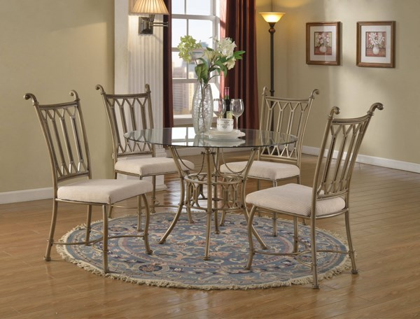 Darcy Traditional Metal Fabric Glass Dining Room Set CHF-DARCY-DR