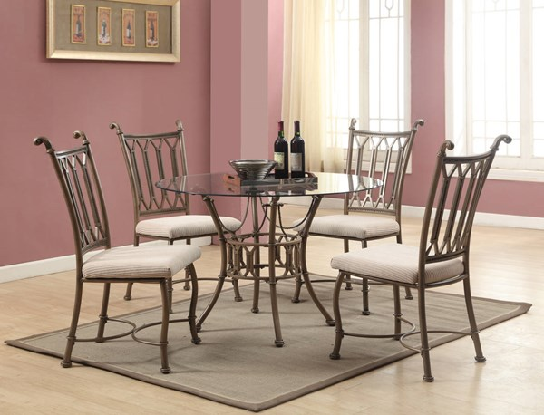 Darcy Metal Fabric 5pc Dining Room Set W/Clear Glass Dining Table CHF-DARCY-DR-S1