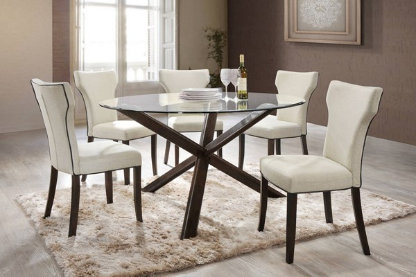 Davis Walnut Solid Wood Glass Beige Fabric 5pc Dining Room Set CHF-DAVIS-5PC-SET