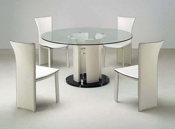 Deborah Chrome Beige Glass Metal Dining Room Set CHF-DEBORAH-DT