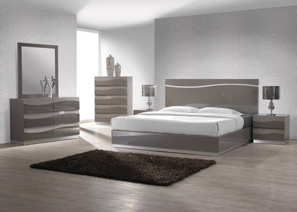 Delhi Modern Gloss Grey 2pc Bedroom Set W/King Bed CHF-DELHI-BR-S1