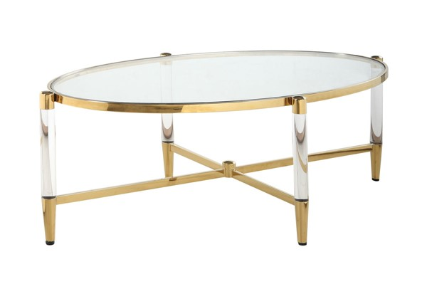 Chintaly Imports Denali Clear Brass Oval Tempered Glass Cocktail Table CHF-DENALI-CT-OVL