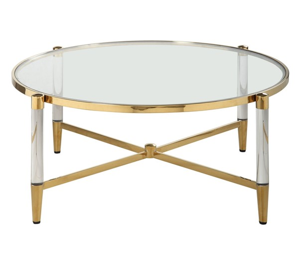 Chintaly Imports Denali Clear Brass Round Tempered Glass Cocktail Table CHF-DENALI-CT-RND