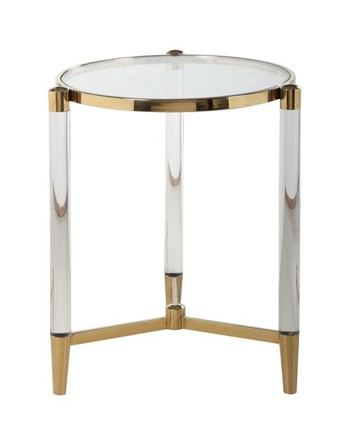Chintaly Imports Denali Clear Brass Round Tempered Glass Lamp Table CHF-DENALI-LT