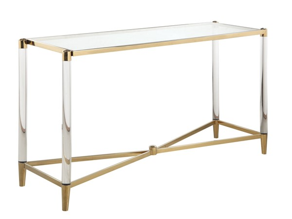 Chintaly Imports Denali Clear Brass Rectangle Sofa Table CHF-DENALI-ST