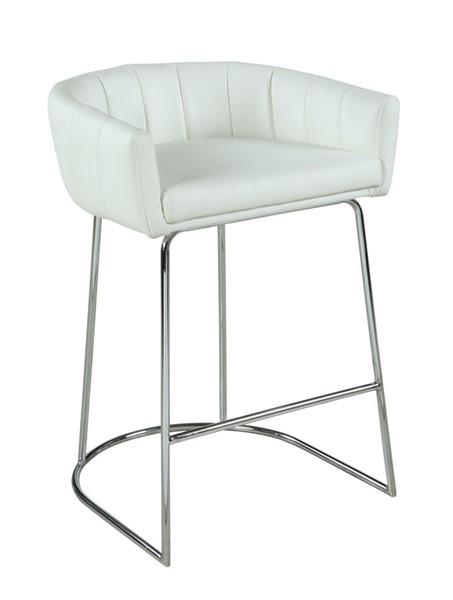 Chintaly Imports Denise Contemporary Chrome Channel Back Counter Stool CHF-DENISE-CS-WHT