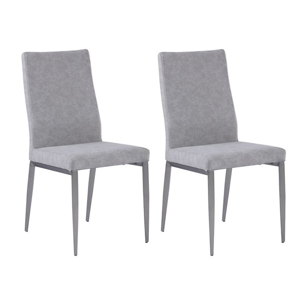 2 Chintaly Imports Desiree Brushed Light Gray Contour Back Chairs CHF-DESIREE-SC-GRY