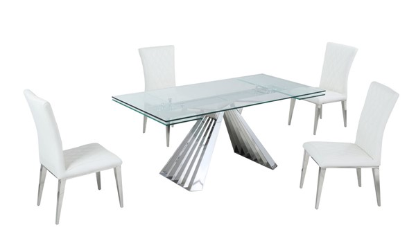 Chintaly Imports Dominique Clear Polished White 5pc Dining Room Set CHF-DOMINIQUE-5PC