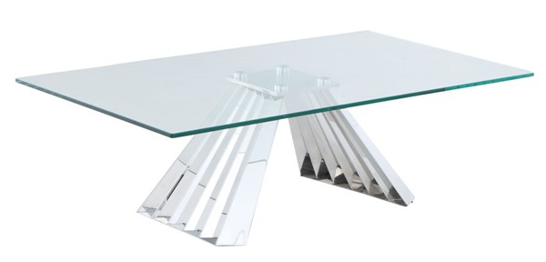Chintaly Imports Dominique Clear Polished Cocktail Table CHF-DOMINIQUE-CT