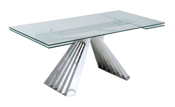 Chintaly Imports Dominique Clear Polished Dining Table CHF-DOMINIQUE-DT