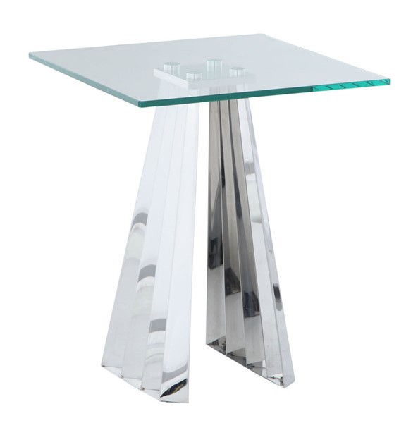 Chintaly Imports Dominique Clear Polished Lamp Table CHF-DOMINIQUE-LT
