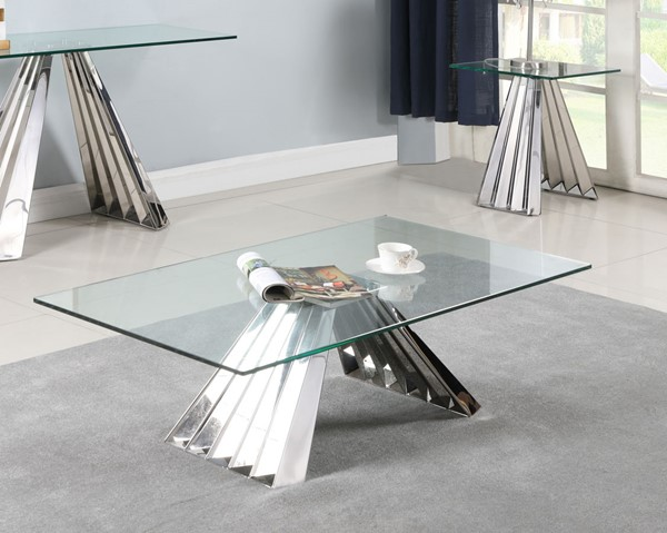 Chintaly Imports Dominique Clear Polished 3pc Coffee Table Set CHF-DOMINIQUE-OCT-S1