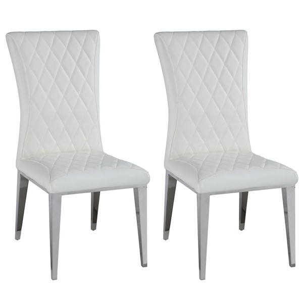 2 Chintaly Imports Dominique Polished White Quilted Side Chairs CHF-DOMINIQUE-SC-WHT