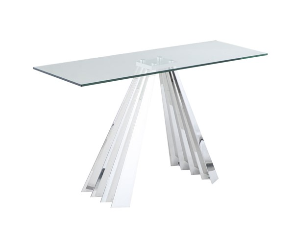 Chintaly Imports Dominique Clear Polished Sofa Table CHF-DOMINIQUE-ST