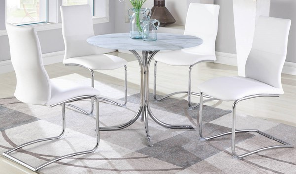 Chintaly Imports Dorothy White Marble 5pc Dining Room Set CHF-DOROTHY-PIPER-5PC-GL