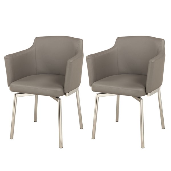 2 Chintaly Imports Dusty Gray Swivel Arm Chairs CHF-DUSTY-AC-GRY-KD