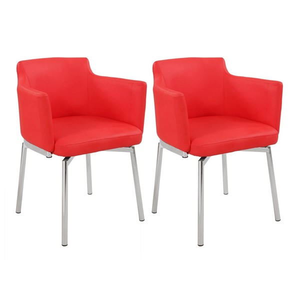 2 Chintaly Imports Dusty Red Swivel Arm Chairs CHF-DUSTY-AC-RED-KD