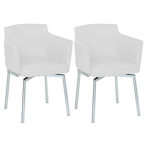 2 Chintaly Imports Dusty White Swivel Arm Chairs CHF-DUSTY-AC-WHT-KD