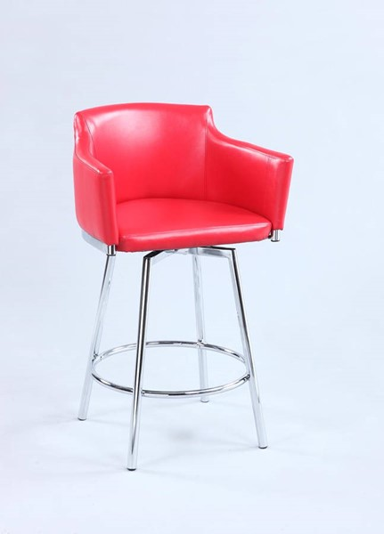 Chintaly Imports Dusty Red Swivel Club Bar Stool CHF-DUSTY-BS-RED