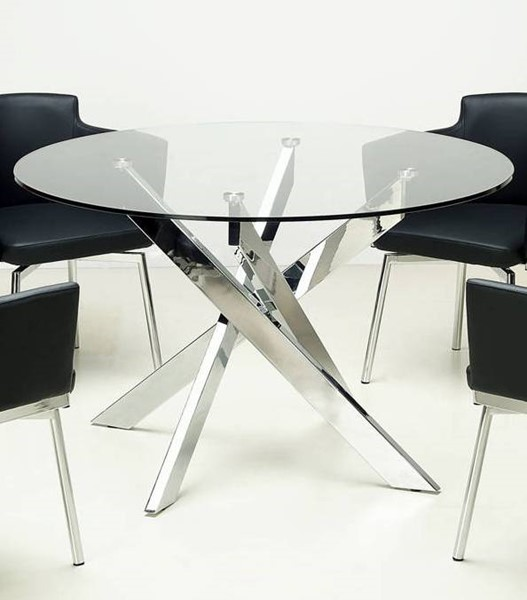 Chintaly Imports Dusty Chrome Grey 5pc Dining Room Set CHF-DUSTY-5PC-GRY