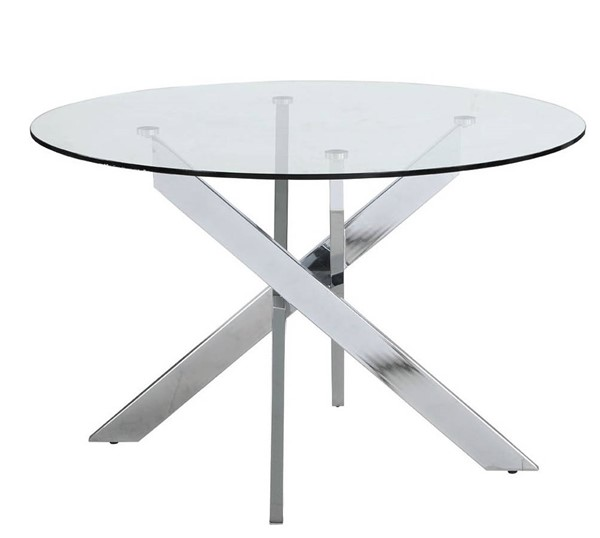 Chintaly Imports Dusty Chrome Dining Table CHF-DUSTY-DT