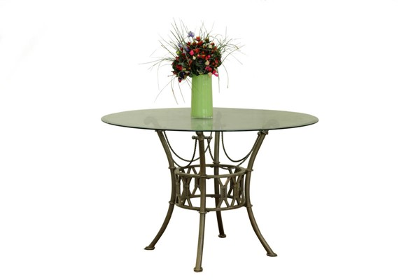 Darcy Matt Bronze Round Wave Edge Glass Dining Table CHF-DARCY-DT-RND-WVC