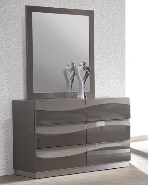 Chintaly Imports Delhi Gloss Grey Dresser and Mirror CHF-DELHI-DRS-MIR