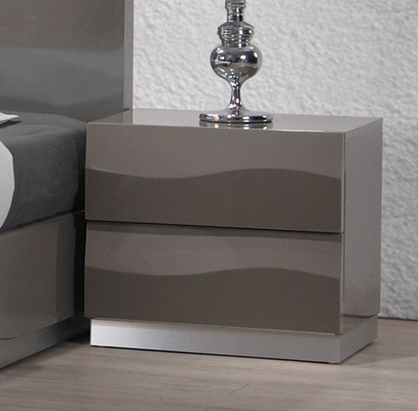 Delhi Modern Gloss Grey 2 Drawer Night Stand CHF-DELHI-NS