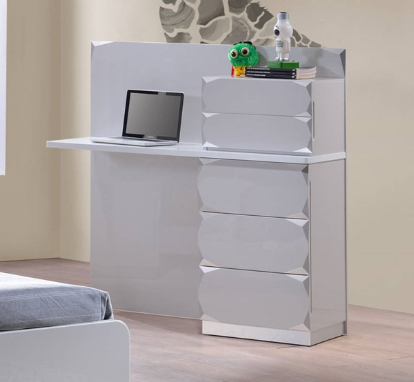 Dublin Gloss Silver Wood Study 5 Drawers Desk CHF-DUBLIN-DSK-DRW