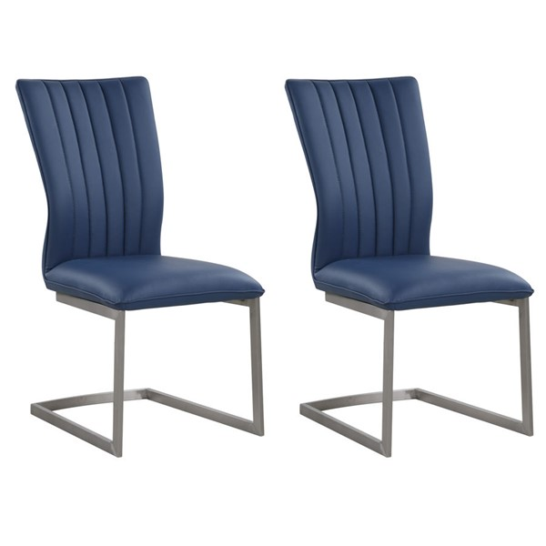 2 Chintaly Imports Eileen Brushed Blue Channel Back Cantilever Side Chair CHF-EILEEN-SC-BLU