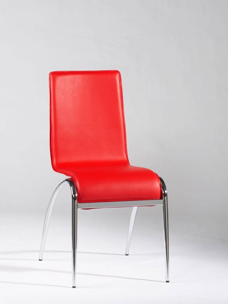 4 Elaine Contemporary Red PVC Arch Leg Side Chairs CHF-ELAINE-SC-RED