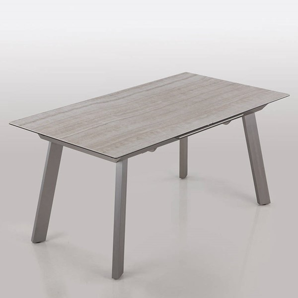 Chintaly Imports Eleanor Beige Ceramic Top Pop Up Extension Dining Table CHF-ELEANOR-DT