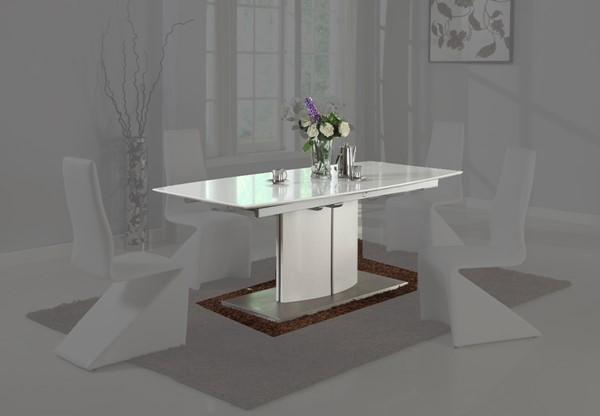 Chintaly Imports Elizabeth Matt White Dining Table CHF-ELIZABETH-DT