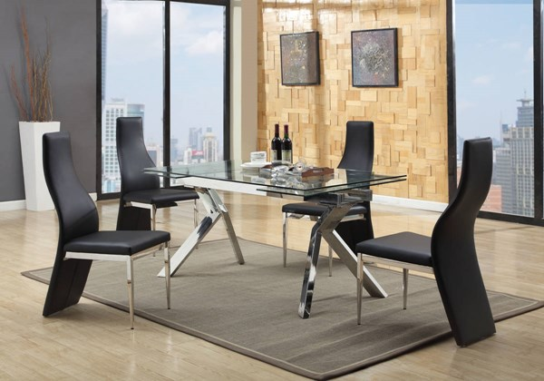 Ella Modern Glass Stainless Steel PU Dining Room Set CHF-ELLA-DR