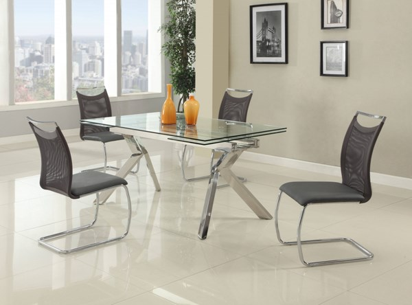 Ella Glass Stainless Steel PU 5pc Dining Room Set w/Nadine Chair CHF-ELLA-DR-S2