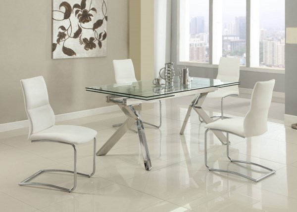 Ella Glass Stainless Steel PU 5pc Dining Room Set w/Piper Chair CHF-ELLA-DR-S3
