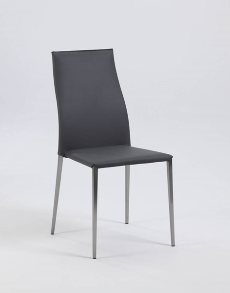 4 Elsa Gray PU Contour Back Stackable Side Chairs CHF-ELSA-SC-GRY